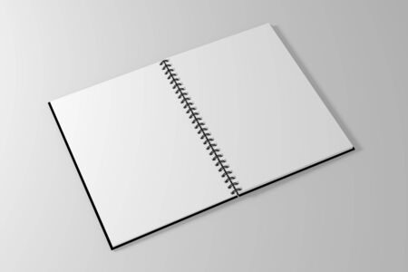 spiral notebook: spiral notebook template on clean white background. 3d illustrated Stock Photo