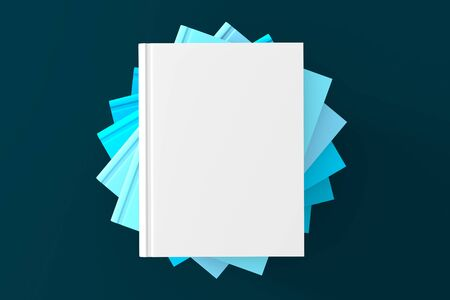 book or notebook template on clean blue background. 3d illustrated