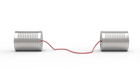 白い背景に分離されたブリキ缶電話。3 D イラスト