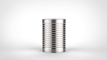 Tin can isolated on white background with soft shadows. 3D illustrating