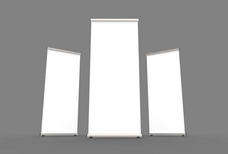 Blank roll up banner 3 display view template. 3d illustrating Stock Photo