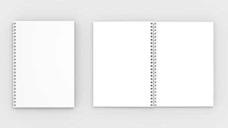 スパイラル バインダー ノートのモックアップに孤立した柔らかい灰色の背景。3 D イラスト 写真素材