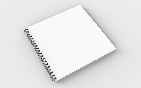 Square spiral binding notebook mock up isolated on soft gray background. 3D illustrating. Фото со стока