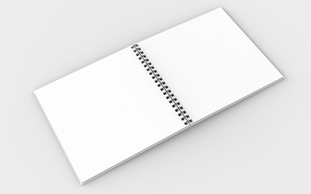 Square spiral binding notebook mock up isolated on soft gray background. 3D illustrating. Stock Photo