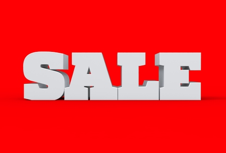 Big white 3d sale word isolated over red background. 3d illustrating