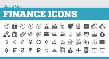 Ilustración de iconos para metáforas de finanzas y finanzas. Iconos universales para las finanzas Foto de archivo - 91889347