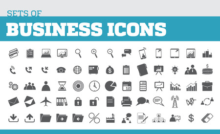 Illustration of icons for business and business metaphors. Universal icons for business Фото со стока