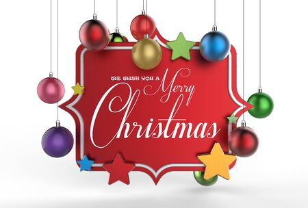 We wish you a Merry Christmas template design. 3D illustrating Stock Photo