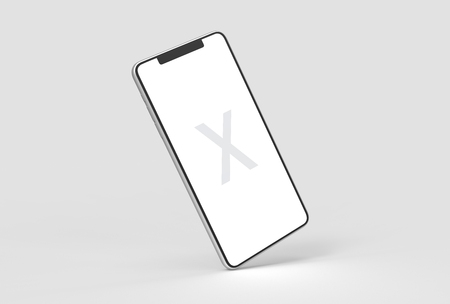 Smart Phone mock up isolated on soft gray background with silver case. 3D illustrating