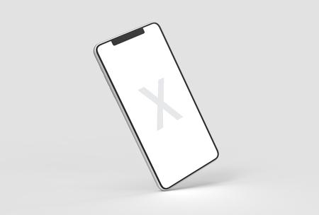 Smart Phone mock up isolato su sfondo grigio morbido con custodia in argento. Illustrazione 3D