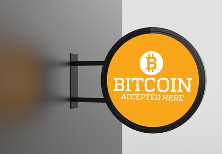 Elegant bitcoin accepted here signboard. 3D illustrating.