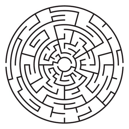 Circular maze isolated on white background. Medium complexity