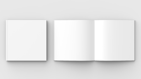 Square brochure, magazine, book or catalog mock up isolated on soft gray background. 3D illustrating. Foto de archivo