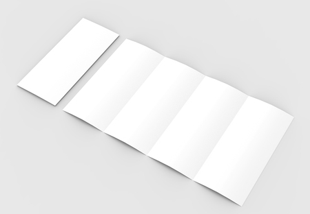 four folded 4 fold vertical brochure mock up isolated on stock