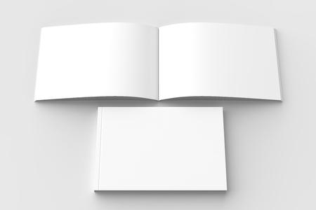 Horizontal - landscape hardcover brochure, book or catalog mock up isolated on soft gray background. 3D illustrating. Stock Photo