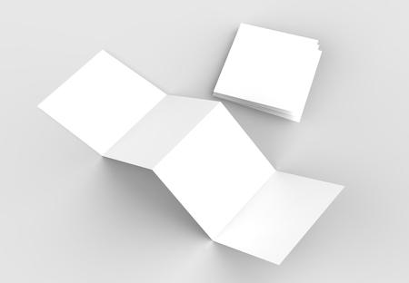 8 page leaflet 4 panel accordion fold square brochure mock up