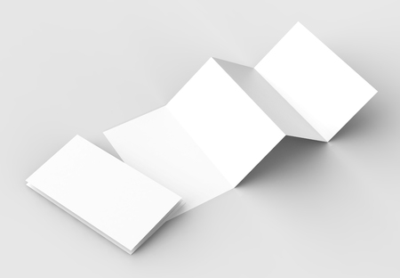 8 page leaflet, 4 panel accordion fold vertical brochure mock up isolated on light gray background. 3D illustrating Banco de Imagens