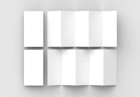 10 page leaflet, 5 panel accordion fold vertical brochure mock up isolated on light gray background. 3D illustrating Фото со стока - 100137384