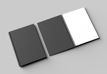 Spiral binder notebook mock up with black cover isolated on soft gray background. 3D illustrating