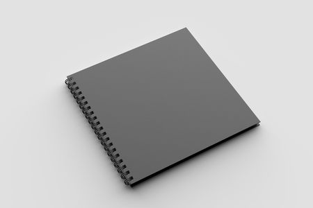 Spiral binder square notebook mock up with black cover isolated on soft gray background. 3D illustration Stock Illustration - 104723761