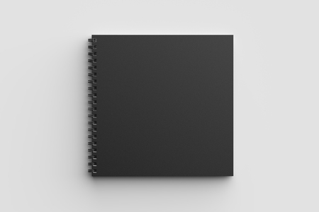 Spiral binder square notebook mock up with black cover isolated on soft gray background. 3D illustration