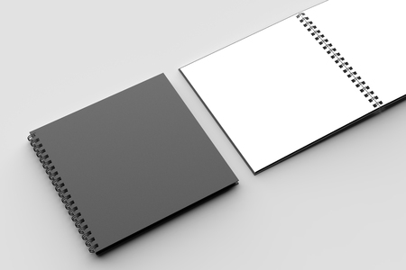 Spiral binder square notebook mock up with black cover isolated on soft gray background. 3D illustration Stock Illustration - 104723786