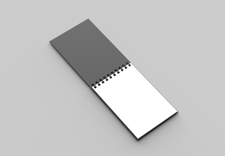 Spiral binder notebook with black cover mock up isolated on soft gray background. 3D illustration