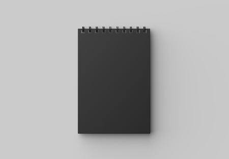 Spiral binder notebook with black cover mock up isolated on soft gray background. 3D illustration Stock Illustration - 103742515