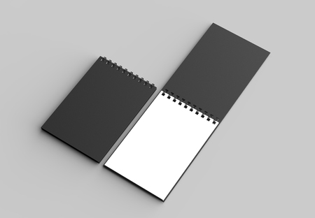 Spiral binder notebook with black cover mock up isolated on soft gray background. 3D illustration Stock Illustration - 103742518