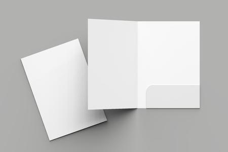 Verstärktes Ordnermodell der Größe A4-Einzeltasche isoliert auf grauem Hintergrund. 3D-Illustration