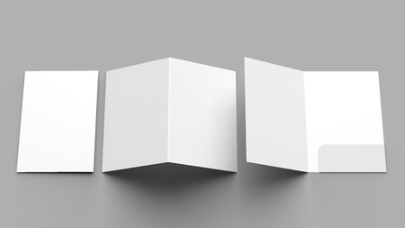 A4 size single pocket reinforced folder mock up isolated on gray background. 3D illustration