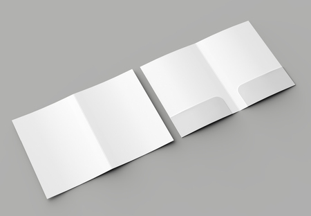A4 size two pockets reinforced folder mock up isolated on gray background. 3D illustration Archivio Fotografico - 104926558