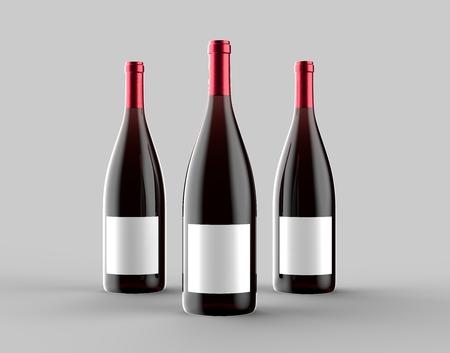 Wine bottle mock up isolated on light gray background. 3D illustration 写真素材