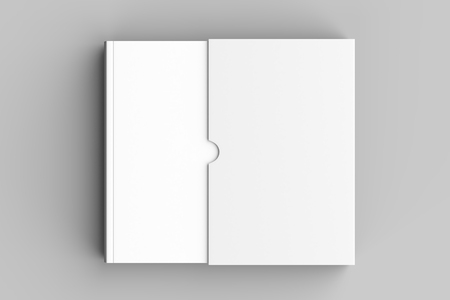 Slipcase book mock up isolated on soft gray background. 3D illustration. 스톡 콘텐츠