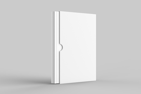 Slipcase book mock up isolated on soft gray background. 3D illustration. Imagens