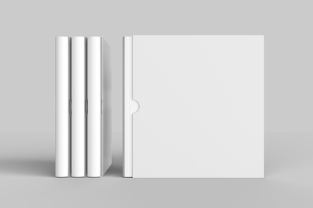 Square slipcase book mock up isolated on soft gray background. 3D illustration.
