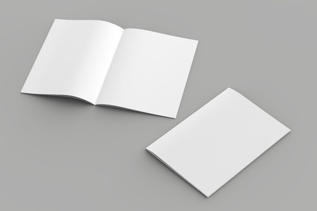 Softcover magazine or brochure mock up isolated on soft gray background. 3d illustration Фото со стока - 110372199