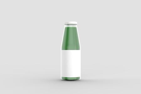 Juice bottle mock up isolated on soft gray background. 3D illustration Reklamní fotografie