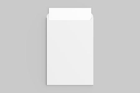 Maqueta de sobre C4 aislado sobre fondo gris suave. Ilustración 3D.