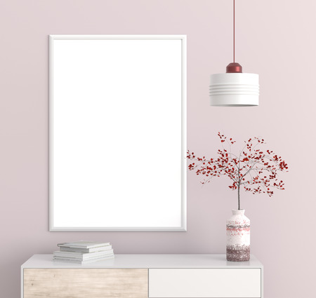Mock up poster frame in Scandinavian style hipster interior. 3D illustration