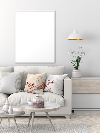 Mock up poster frame in Scandinavian style hipster interior. 3D illustration. Stock Photo