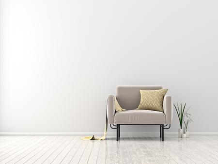 Modern living room with armchair. Scandinavian style interior design. 3D illustration