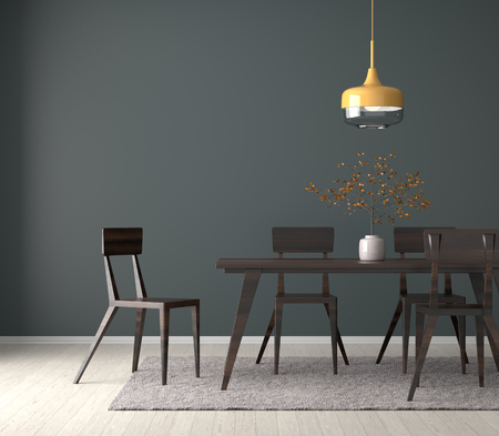 Spacious dining room with wooden table and chairs. 3D illustration Reklamní fotografie