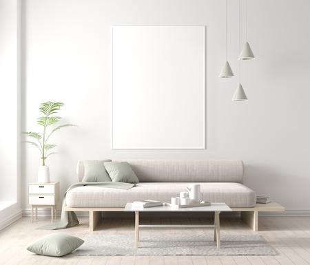 Mock up poster frame in Scandinavian style hipster interior. 3D illustration.