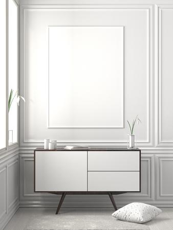 Mock up poster frame in Scandinavian style hipster interior. 3D illustration Stock fotó