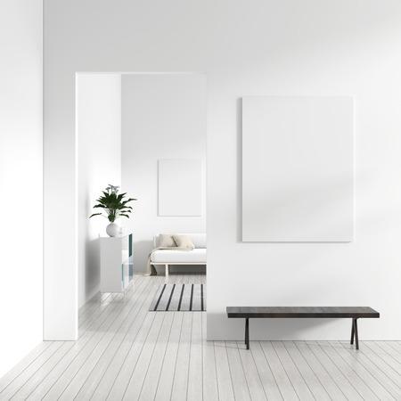 Mock up poster frame in Scandinavian style hipster interior. White modern interior of modern living room. 3D illustration.