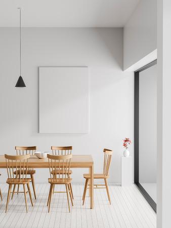 Mock up poster frame in Scandinavian style hipster interior. Minimalist modern dining room. 3D illustration.