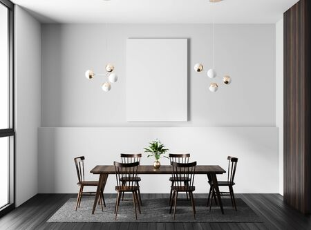 Mock up poster frame in modern dining room. Scandinavian style dining room. 3D illustration.