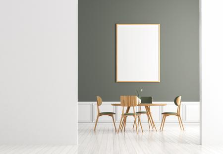 Mock up poster frame in Scandinavian style dining room. Minimalist dining room design. 3D illustration. Banco de Imagens