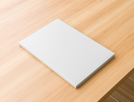 Libro de tapa dura realista o maqueta de catálogo sobre mesa de madera. Libro de tapa dura blanca sobre fondo de madera. Ilustración 3D.